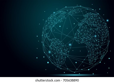 Abstract image of a planet Earth consisting of points, lines, and shapes. Global network connection. World map point and line composition concept of global business illustration