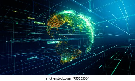 Abstract image of a planet Earth and global network connection concept