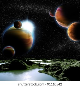 Abstract image of a planet with water. Find new sources and technologies. The future of travel to distant planets.