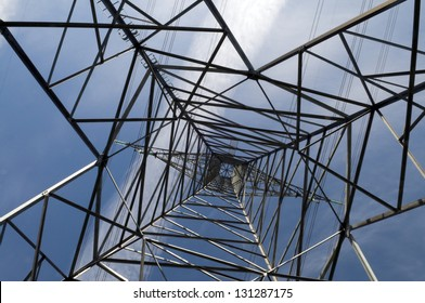 Abstract image of power tower shot looking up the centre