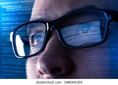 the abstract image of the programmer wear a glasses looking at the source code and chart on the computer screen. The concept of programming, cyber security, business, city life and internet of things