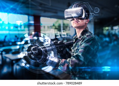 c4780b8b03c The abstract image of the soldier use a VR glasses for combat simulation  training overlay with