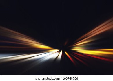 Abstract image of speed motion on the road at dark.