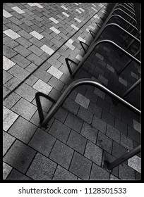 Abstract image of stainless steel bike Park ,Sainsbury's,Blackpool