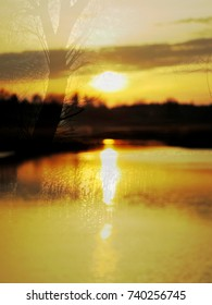 The abstract image of the sunset at the lake with the melting ice in early spring. The complex mixed image for the decoration of a modern smart home.