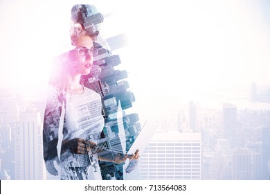 Abstract image of thoughtful woman and businessman on bright city background with sunlight and copy space. Employment concept. Double exposure