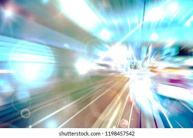 Abstract image traffic light trails with bokeh circle