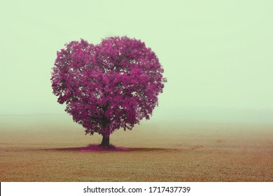 Abstract image with tree in form of heart as symbol of love, wedding or holy valentine's day