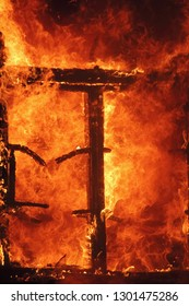Abstract image: Window of hell. Fire flame background as symbol of inferno and eternal pain.