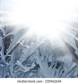 abstract image of winter frost on the window