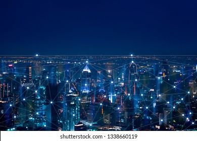 The abstract image of Wireless network and Connection technology concept with Bangkok city background at night in Thailand