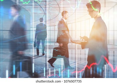 Abstract image of young businesspeople in modern office interior with forex chart, city view and sunlight. Meeting, teamwork, stock and marketing concept. Double exposure