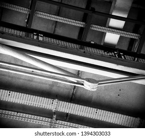 Abstract industrial background. Architectural detail. Exterior of Centre Georges Pompidou in Paris, France. Balcony fence railing. Black white photo