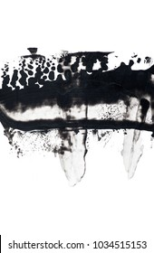 abstract ink background black paint stroke texture on white paper
