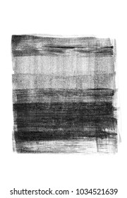 abstract ink background black paint stroke texture on white paper hand made creative brush