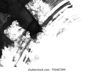 Abstract ink background. Marble style. Black paint stroke texture on white paper. Wallpaper for web and game design.