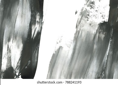 Abstract ink background. Marble style. Black and white paint stroke texture. Macro image of spackling paste. Dark Smear of painterly plaster.