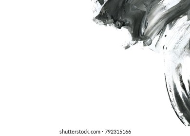 Abstract ink background. Marble style. Black paint stroke texture on white paper. Wallpaper for web and game design. Grunge. Dark Smear. Ink artwork. Artistic abstract frame. Interior design picture