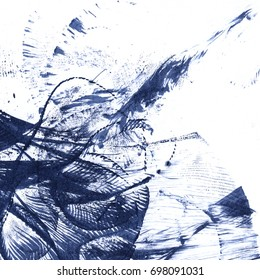 Abstract ink blotch. Scanned ink blotch on paper. Square composition.
