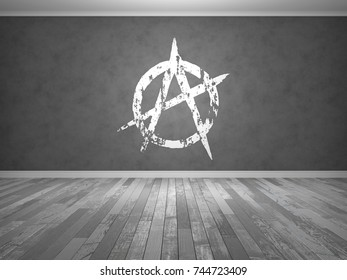 Anarchy sign vector image 431837029 shutterstock abstract interior with anarchy sign on the wall 3d render voltagebd Gallery