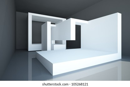 abstract interior with black walls and floors