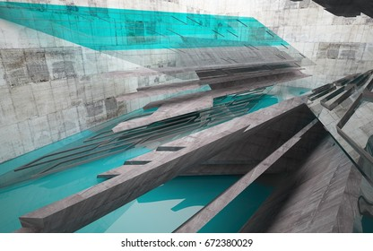 Abstract interior of blue glass, wood  and concrete. Architectural background. 3D illustration and rendering