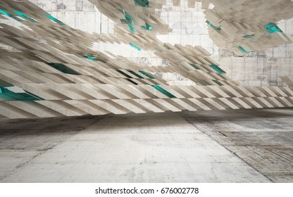 Abstract interior of concrete with blue glass. Architectural background. 3D illustration and rendering
