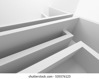 Abstract Interior Design White Modern Background. 3d Render Illustration