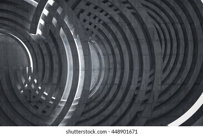 Abstract  interior of the future in a minimalist style, consisting of structure grey concrete arcs. Night view from the backligh. Architectural background. 3D illustration. 3D rendering