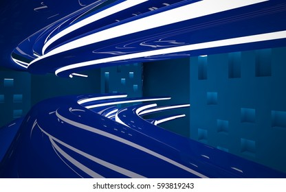 Abstract interior of the future in a minimalist style with violet blue sculpture. Night view from the backligh. Architectural background. 3D illustration and rendering