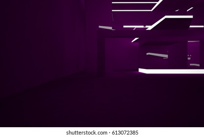 Abstract interior of the future in a minimalist style with violet  sculpture. Night view from the backligh. Architectural background. 3D illustration and rendering