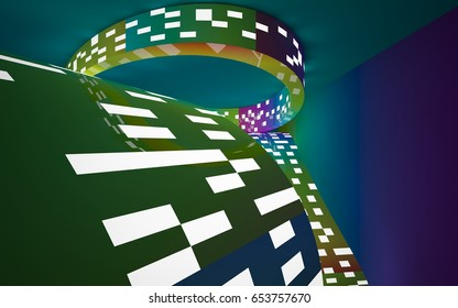 Abstract interior of the future in a minimalist style with gradient colored sculpture. Night view from the backligh. Architectural background. 3D illustration and rendering