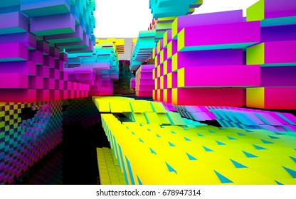 Abstract interior of the future in a minimalist style with gradient colored sculpture. Architectural background. 3D illustration and rendering