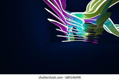 Abstract interior of the future in a minimalist style with gradient colored  sculpture. Night view . Architectural background. 3D illustration and rendering