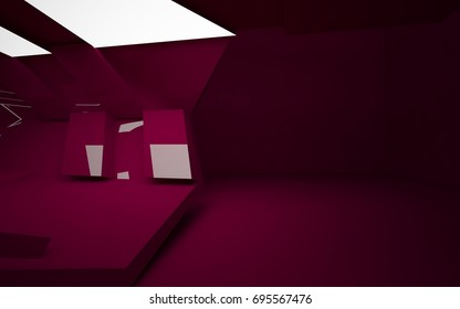 Abstract interior of the future in a minimalist style with red colored sculpture. Night view . Architectural background. 3D illustration and rendering