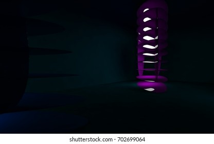 Abstract interior of the future in a minimalist style with violet sculpture. Night view . Architectural background. 3D illustration and rendering