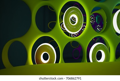 Abstract interior of the future in a minimalist style with colored gradient sculpture. Night view . Architectural background. 3D illustration and rendering