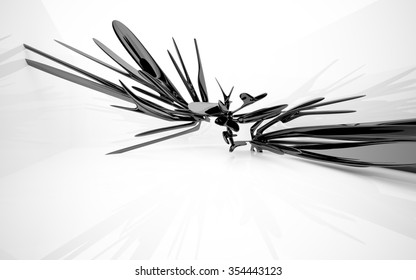 Abstract interior with glossy black sculpture. 3D illustration. 3D rendering
