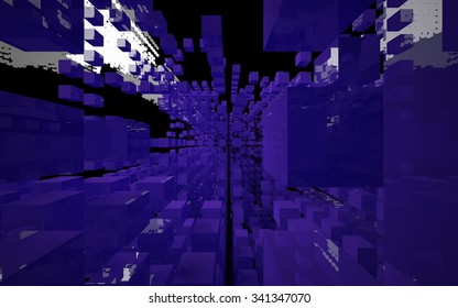 Abstract interior of the server of the future. 3D illustration. 3D rendering