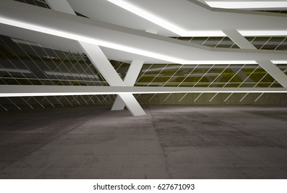 Abstract interior of yellow glass and brown concrete. Architectural background. 3D illustration and rendering