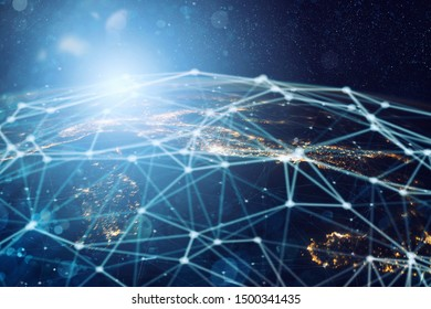 Abstract internet connection network background with motion effects. Earth provided by NASA.