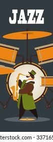 Abstract jazz band, Jazz music party invitation design  illustration