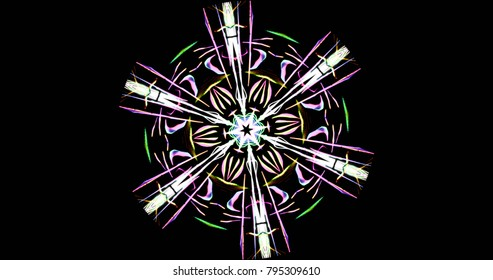 Abstract Kaleidoscope Patterns On Dark Background In Green Yellow Purple White Lines