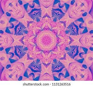 Abstract kaleidoscope purple background. Beautiful illustration. Bright flower. Seamless pattern.