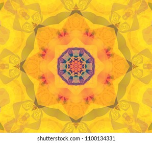 Abstract kaleidoscope yellow background. Beautiful illustration. Bright flower.