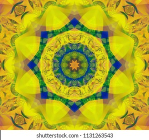 Abstract kaleidoscope yellow background. Bright flower. Illustration seamless pattern for design.
