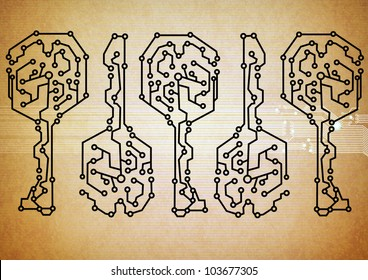 Abstract key circuit background