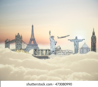 Abstract landmark sketch on clouds. Traveling concept