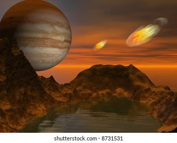 Abstract landscape with big planet in the sky