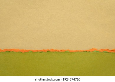 abstract landscape in brown and green pastel tones - a collection of handmade rag papers